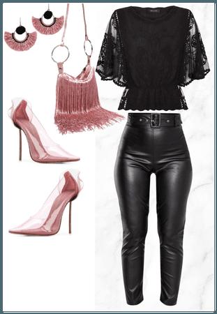 Fringe black and pink