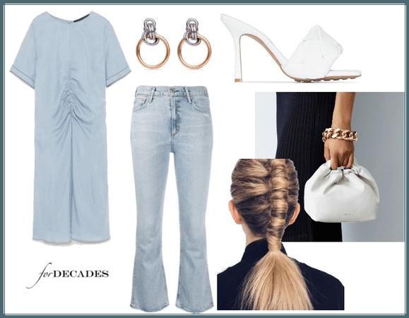 Zara Dusty Blue Gathered Tunic