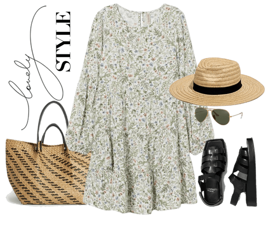 romantic dress with dad sandals