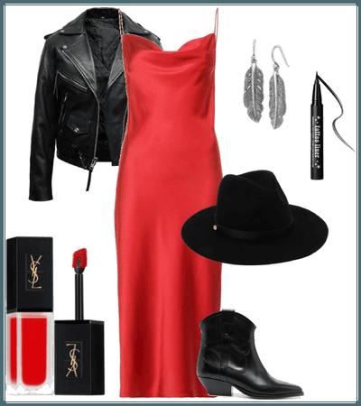 Красный атлас-черная кожа