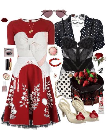 Strawberry Chocolate Cake Retro Red Black White Heart