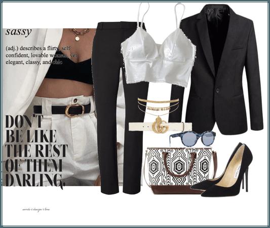 Black and White Blazer/Bra Top