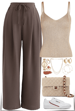 easy & casual outfit Of the colors natural & brown