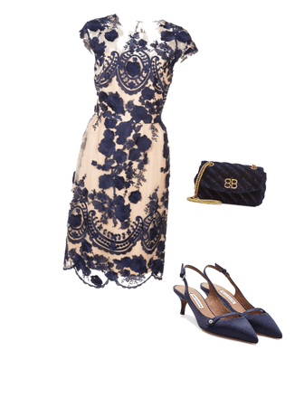 Navy blue floral formal
