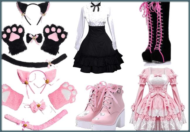 black/pink lolita maid