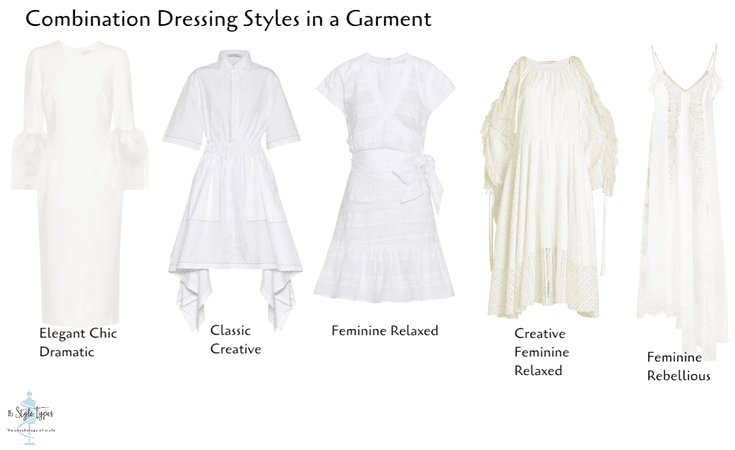 combination dressing styles in a white dress