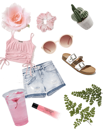 pink aesthetic beach outfit