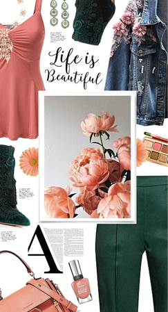 Step Into Spring With Peach And Dark Green