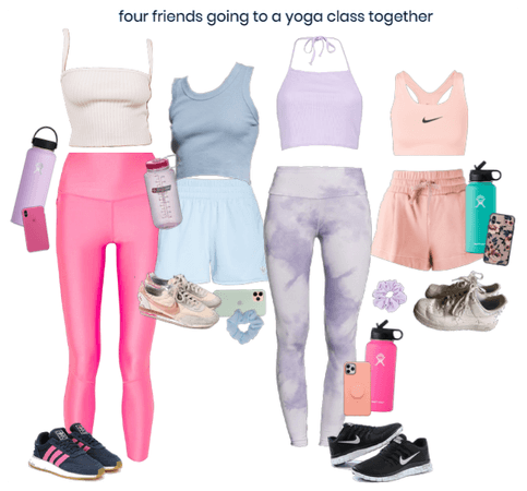 4 friends going to a yoga class!