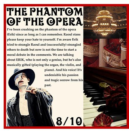 RATING MY FICTIONAL CHARACTER CRUSHES: Erik (The Phantom Of The Opera)