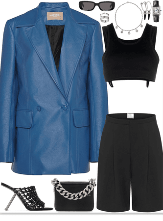 edgy look with blue leather blazer & silver jewelry