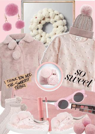 Pom Pom Beanie in Pink Tones