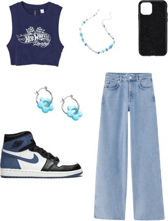 blue outifit