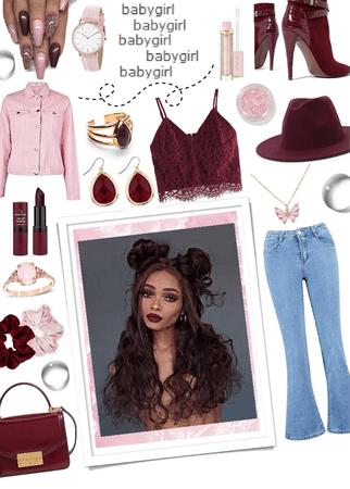 Pink & maroon