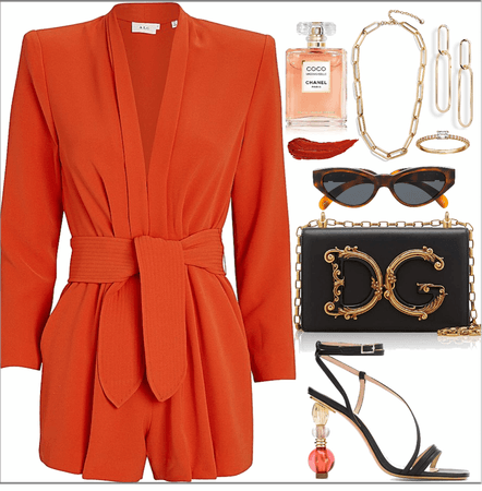 short orange jumpsuit look