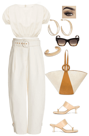 Belted White Pants