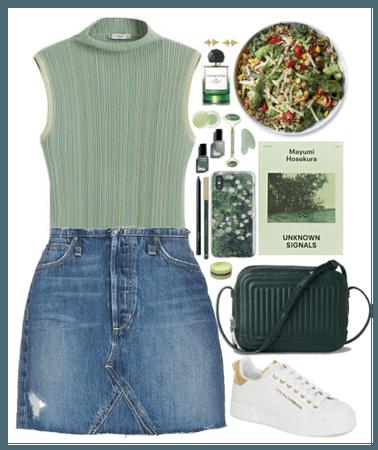 Denim Skirt + Green
