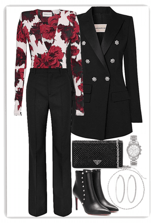 Red flowers,Formal suit