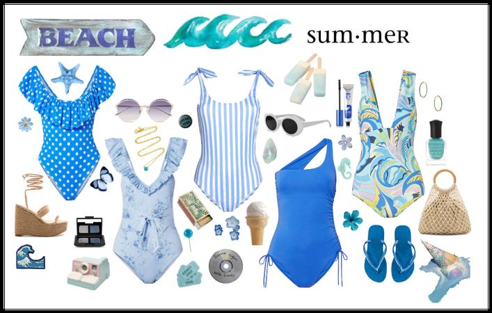 Vintage Swimsuits: Blue