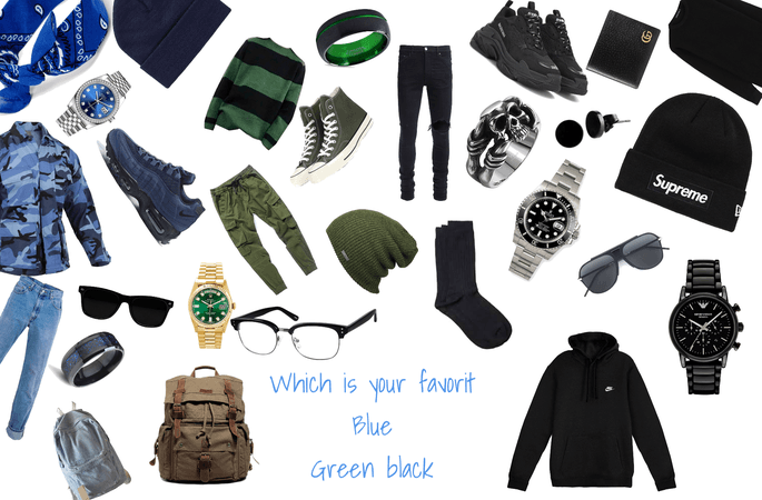 black green and blue