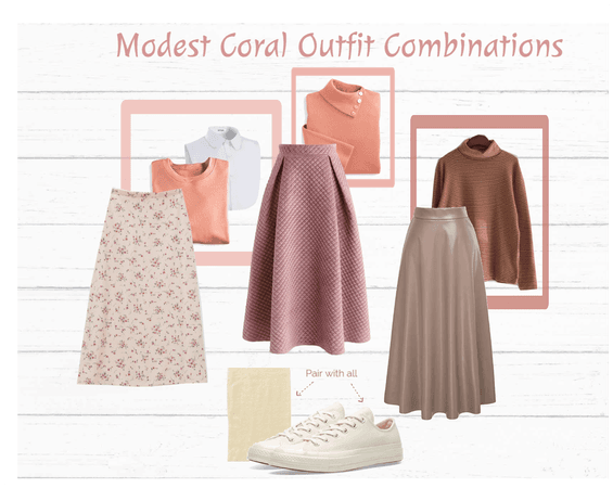 Modest Coral Outfit Combinations