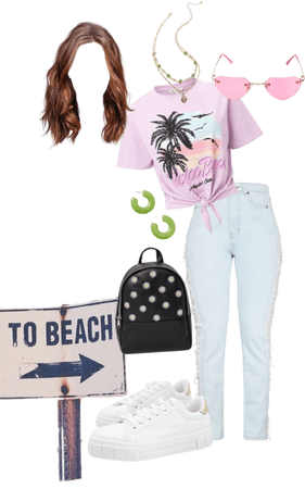 a 2k17 inspired beach day look
