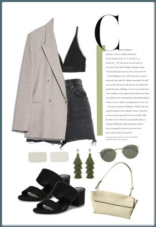 Minimal Denim&Blazer Outfit