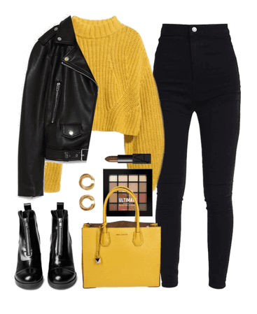 yellow&black street style at fall