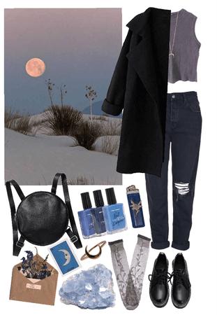 Girl in lunar fields