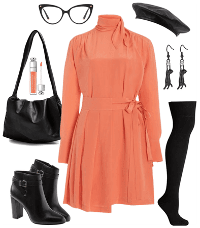 Black Leather and Coral Pink