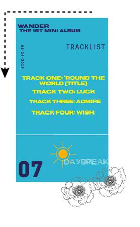 """[Daybreak] """"Wander"""" Tracklist"""