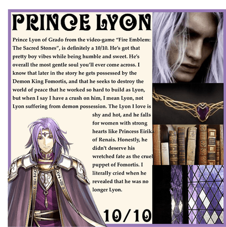 RATING MY FICTIONAL CHARACTER CRUSHES: Prince Lyon