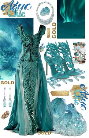 Aqua & Gold Glam