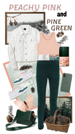 Peach Pink and Pine Green Casual