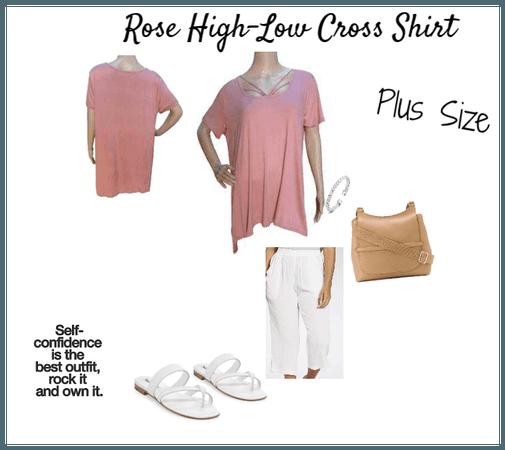 Rose High-Low Cross Shirt