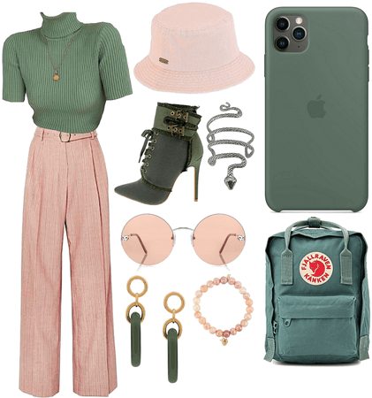 Peach Pink and Pine Green