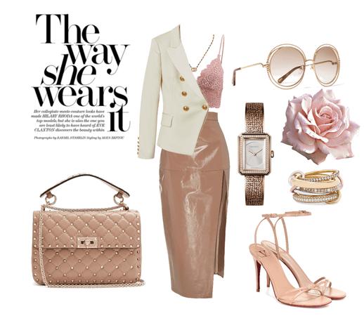 the way she wears it #leatherskirt