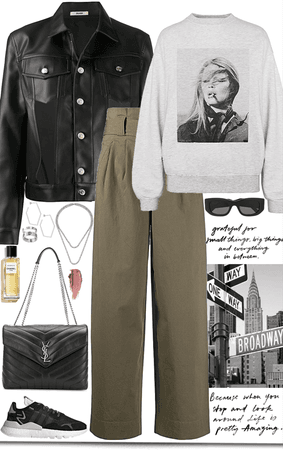 Black leather jacket,cool sweater & olive pants look