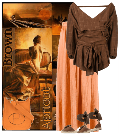 brown and apricot