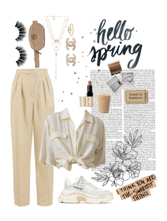 cream spring outfit