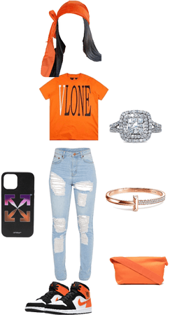orange vlone outfit