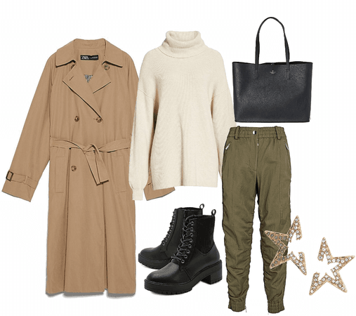 oversized trench outfit