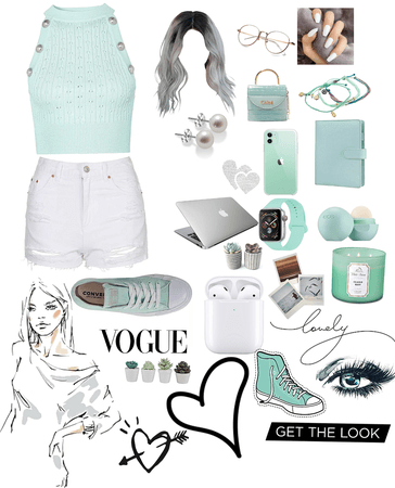 Mint,gray,and white🌫🤍