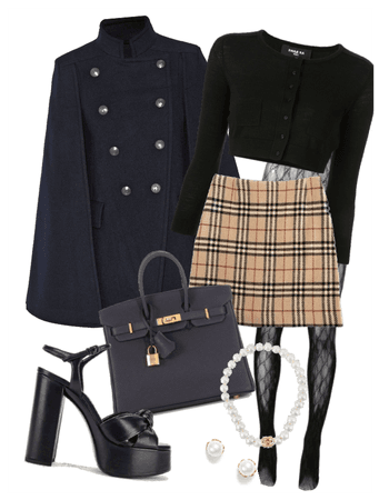 NYC Gal- Navy Coat and Burberry Skirt