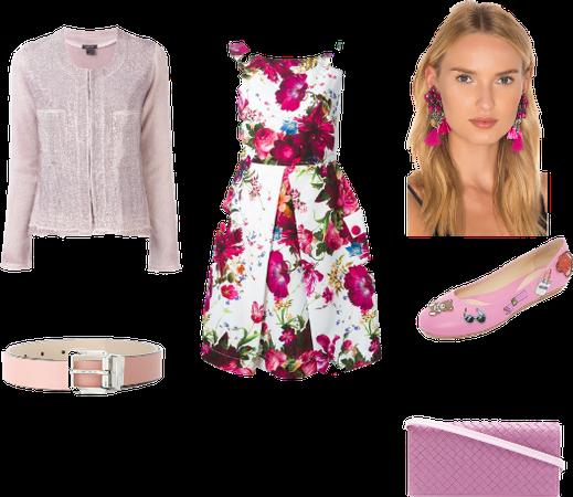 pastel pink floral look
