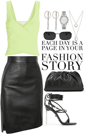 light green top with black leather skirt & bag