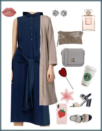 vestido azul lazo cardigan
