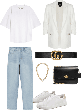 white blazer ootd