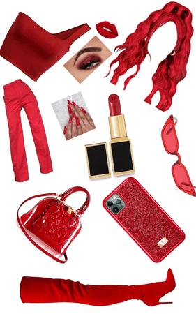 Aujourd'hui je m'habille tout en rouge