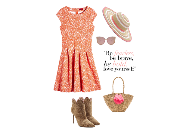 Orange Floral Sleeveless Dress With Boots
